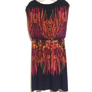 En Focus Colorful Summer Dress Belted Size 10